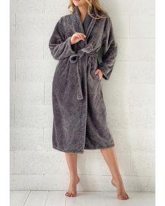 Super zachte badjas met zigzag in de kleur  grijs fleece badjas,  SPECIALE PRIJS