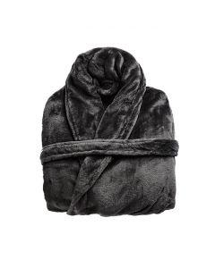 Zachte fleecebadjas, in de kleur donkergrijs, microvezel ochtendjas