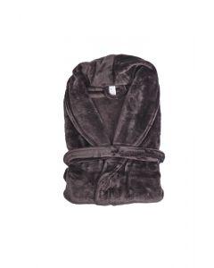 Super zachte badjas in de kleur donker taupe bruin  fleece badjas,  SPECIALE PRIJS