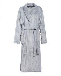 Super zachte badjas in de licht grijs , fleecebadjas,  SPECIALE PRIJS