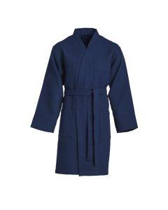 Zomer badjas Rom kleur donker blauw 100% wafel katoen  Vossen