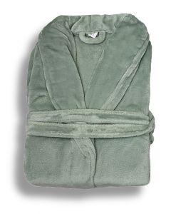 Super zachte badjas in de kleur zacht groen  fleecebadjas,  SPECIALE PRIJS