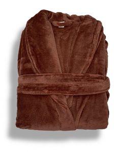 Super zachte badjas in de kleur donker warm rose fleecebadjas,  SPECIALE PRIJS