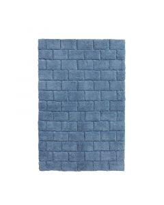 Seahorse  badmat  Metro, blok,   Denim blauw  zware kwaliteit 100% katoen
