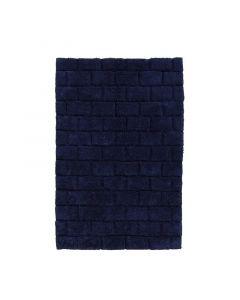 Seahorse  badmat Metro blok  Donker blauw  zware kwaliteit 100% katoen