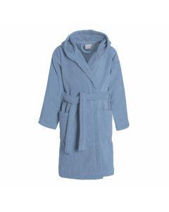 Uni Kinder Badjas met capuchon  Seahorse Pure in de kleur denim blauw  100% mooie velours katoen